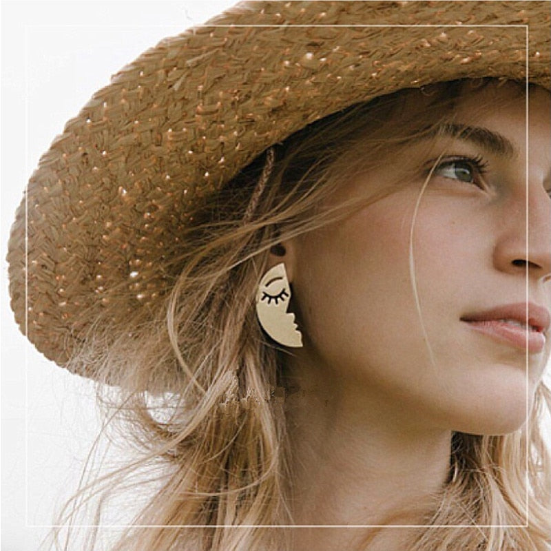 Personality Popular Face Earring Mask Outline Moon Drop Earrings