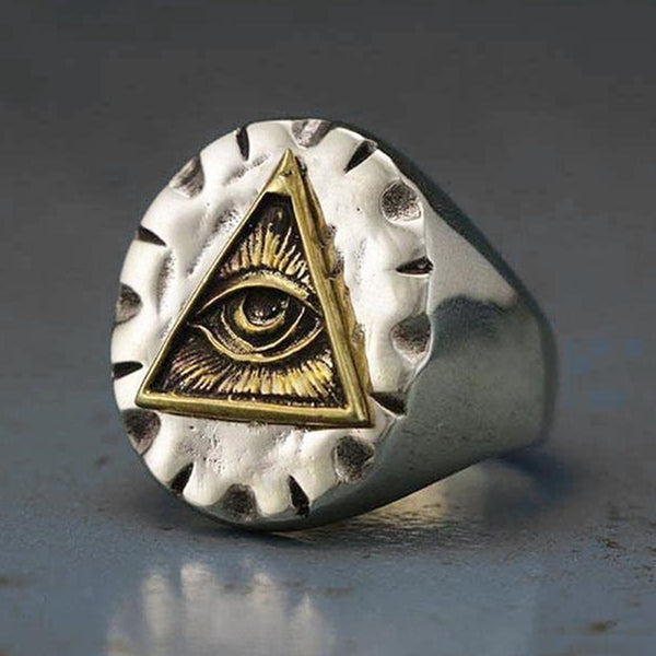 Men Vintage Rings Freemason Illuminati Triangle Masonic Ring