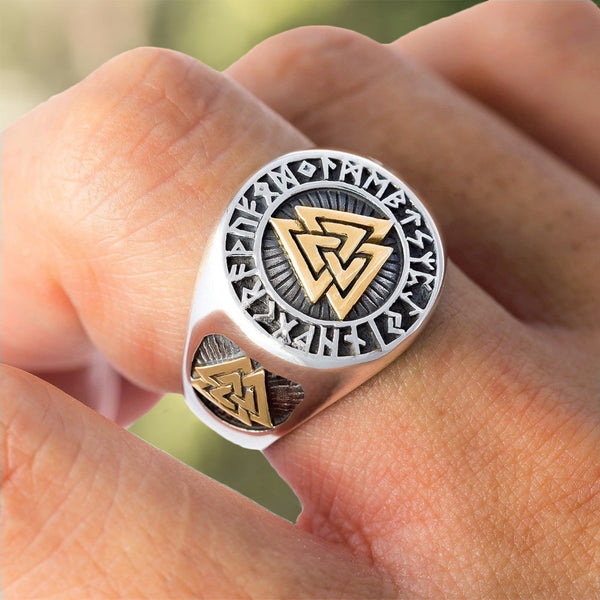 Unique Valknut Signet Runic Polished Bronze Ring