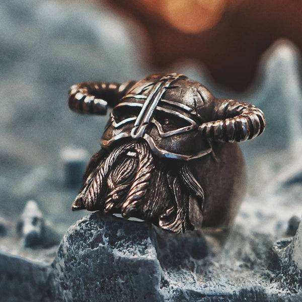 Vikings Nordic Style Horns Helmet Warrior Ring Mens Vintage Unique Biker Jewelry