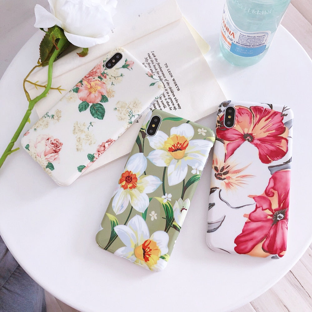 Colorful Rose flower Phone Case Cute Gardenia Floral iPhone Cover Fundas