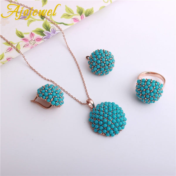 Rhinestone Vintage Jewelry Turquoise Resin Earrings Necklace Rings Set