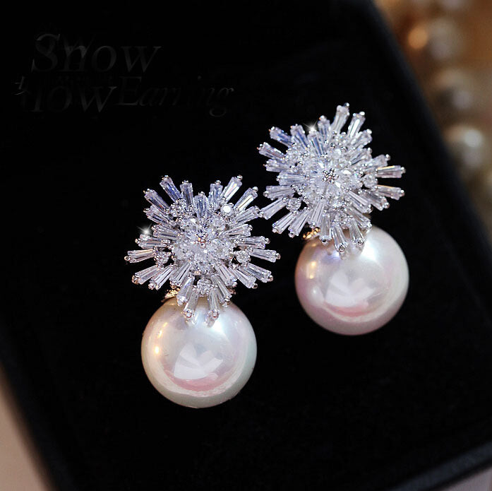 Austrian Clear Cubic Zirconia Earrings for Women Luxury Pearl Earrings