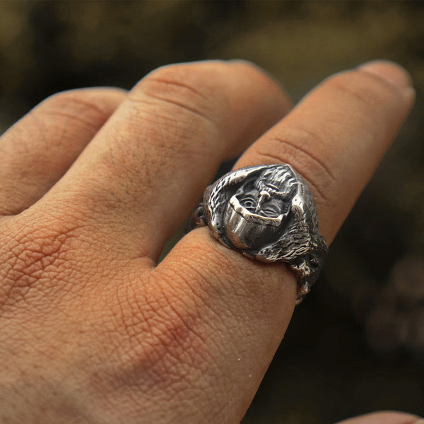 Norse Mythology Odin Stainless Steel Rings Mens Viking Amulet Jewelry