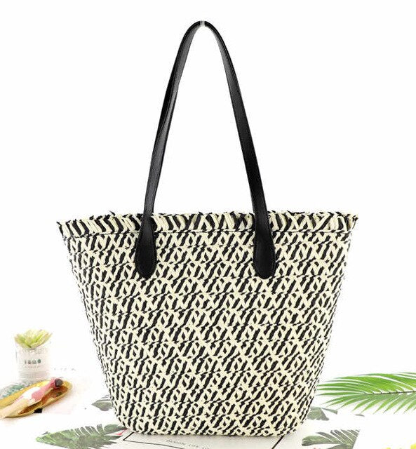 Paper Rope Straw Bag Large-capacity Casual Woven Shoulder Bags