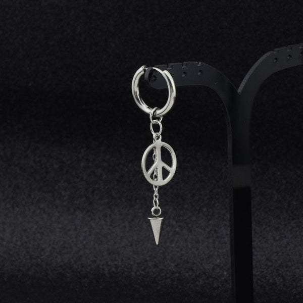 GOT 7 Hipster Grunge Style Punk Feather and Moon Men's Earrings