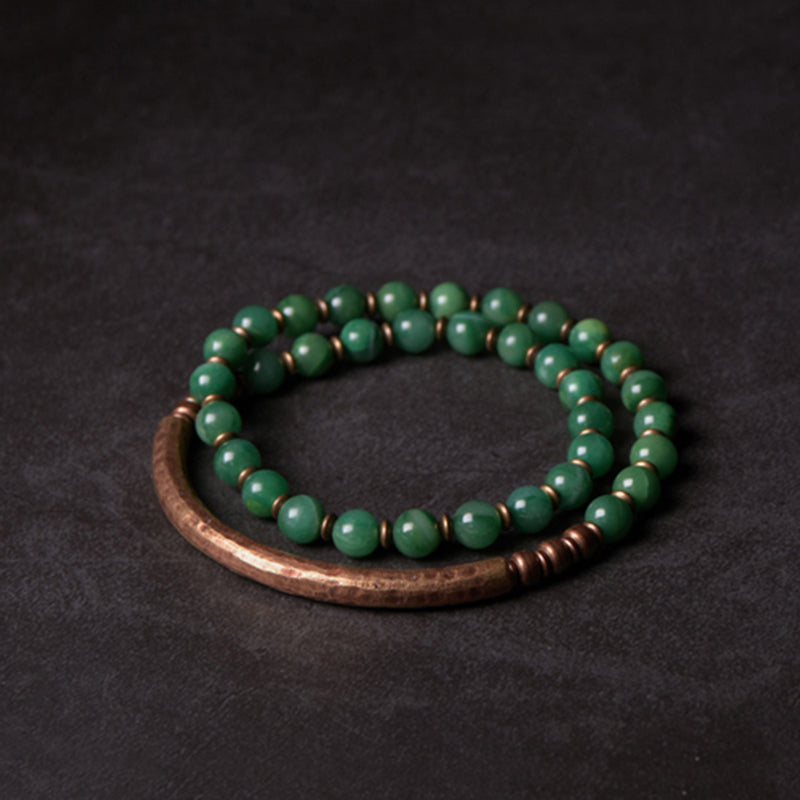 Multi Layer African Green & Red Jasper Stone Copper Bracelet Couple Gift