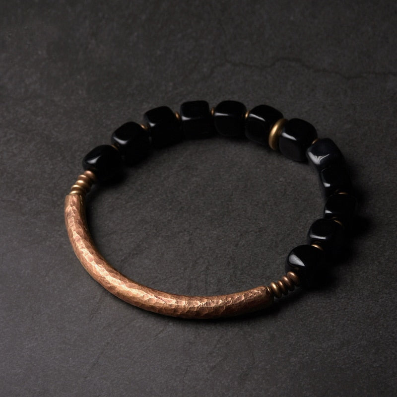 Black Obsidian Bracelet With Handcrafted Antique Copper Jewelry Bracelets