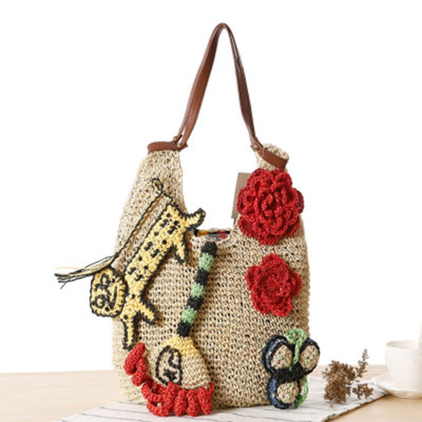 DIY Straw Tote Bag Knitting Tiger Flower Woven Rattan Crossbody Bags