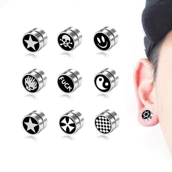 Punk Mens Strong Magnet Magnetic Earrings