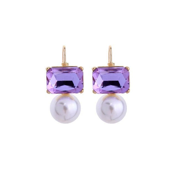 Purple Champagne Rectangle Glass Crystal Pearl Earrings