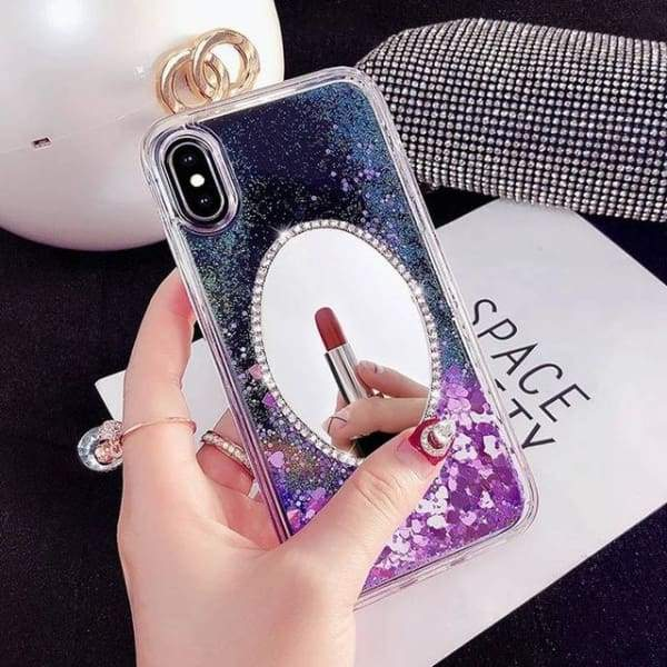 Quicksand Cell Phone Case For iphone Transparent Shell Mirror Back Cover Cases
