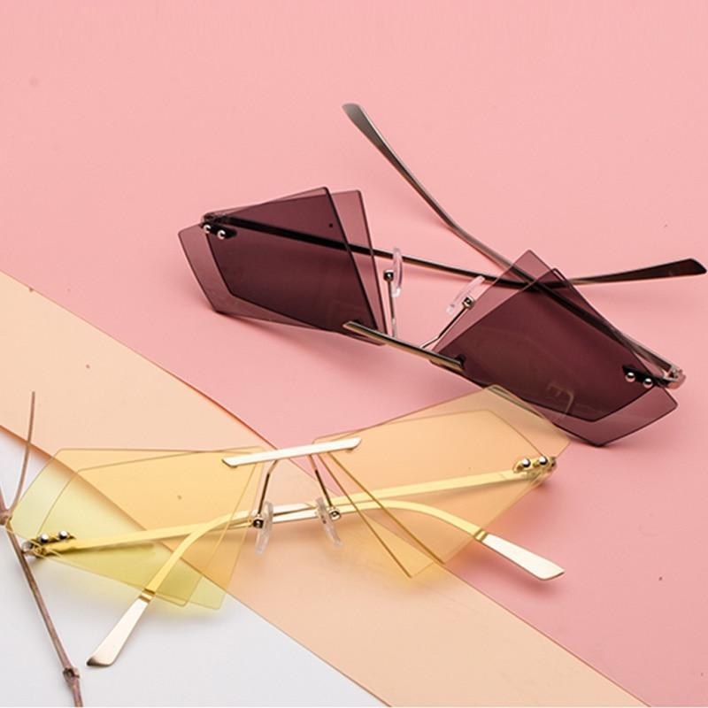 Retro Vintage Triangle Double Sunglasses Rimless Oculos de Sol