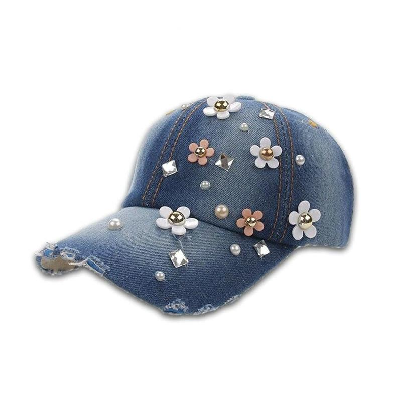 Rhinestones Girls Denim Baseball Caps Handmade Floral Hat Cap