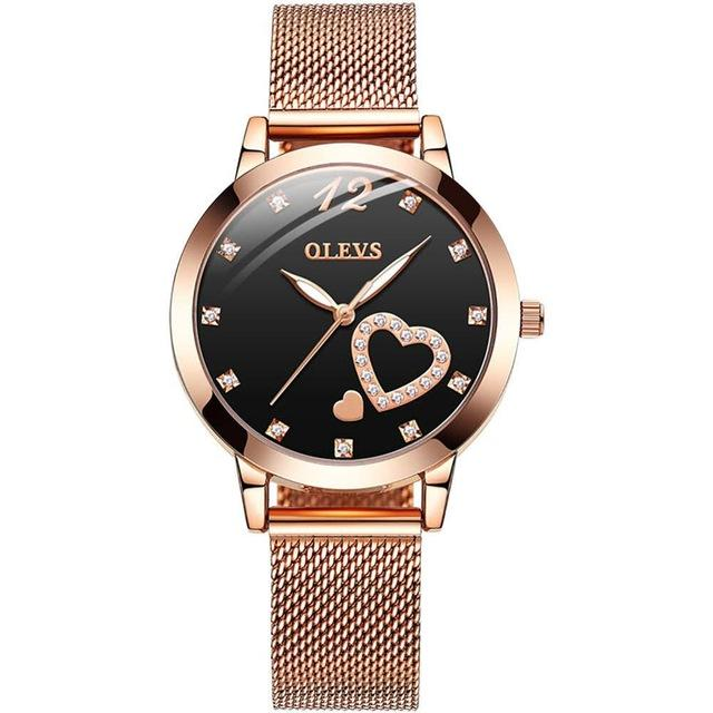 Rose Gold Stainless Steel Quartz Heart Luxury Women Watch
