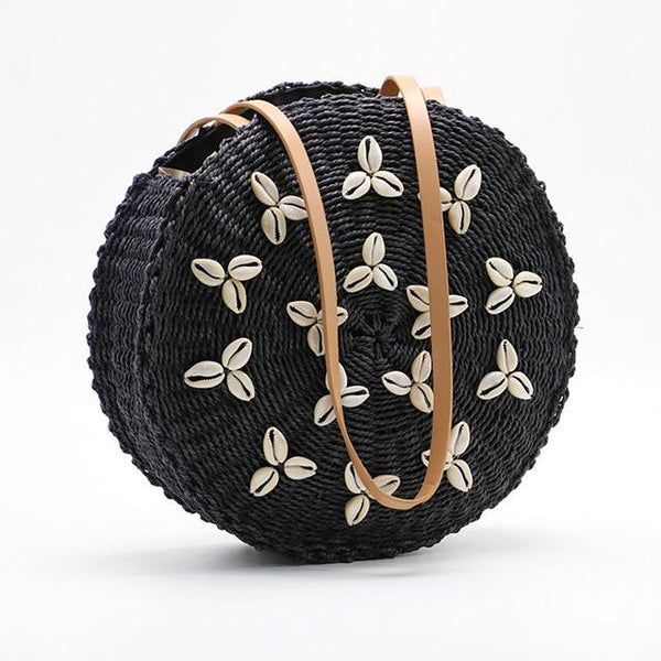 Round Straw Beach Bag Summer Woven Shell Handmade Shoulder Bags