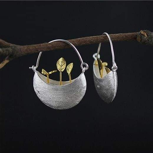 Silver Creative Handmade Jewelry My Little Garden Drop Earrings