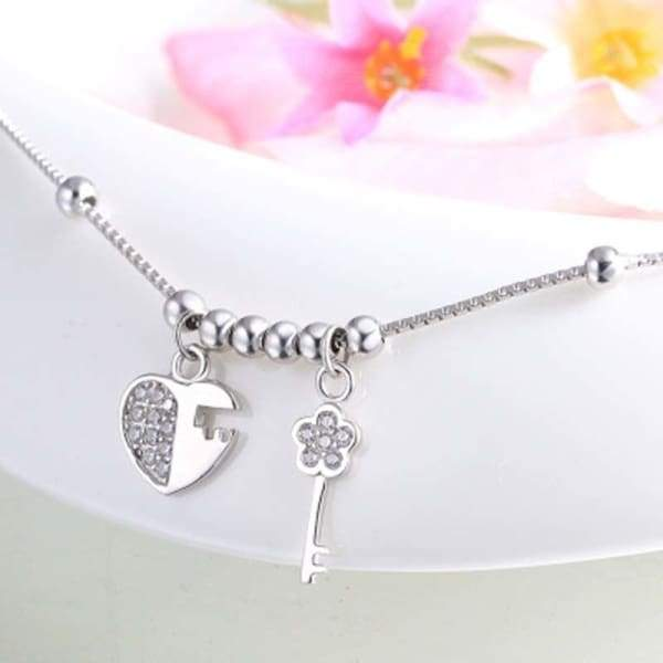 Silver Key and Anklets Chain Beach Foot Bracelets Jewelry