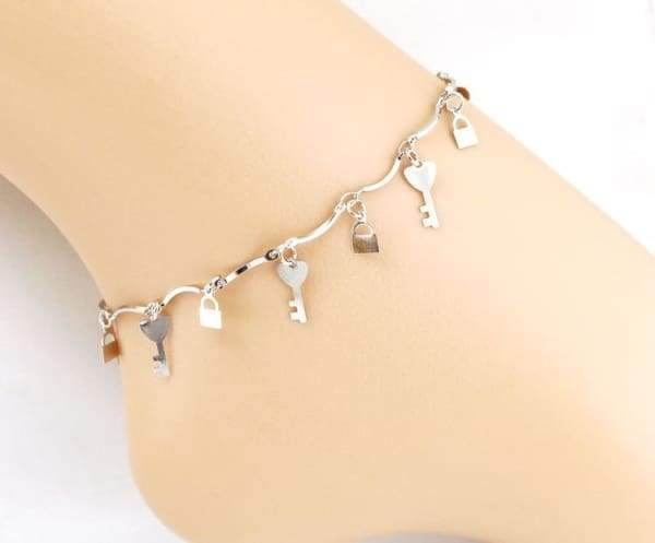 Silver Lock Key and Anklets Foot Bracelet Jewelry