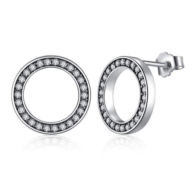 Silver Lucky Forever Circular Stud Earrings