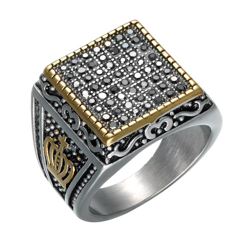 Stainless Steel Crystal Punk Hip Hop Mens Ring Jewelry