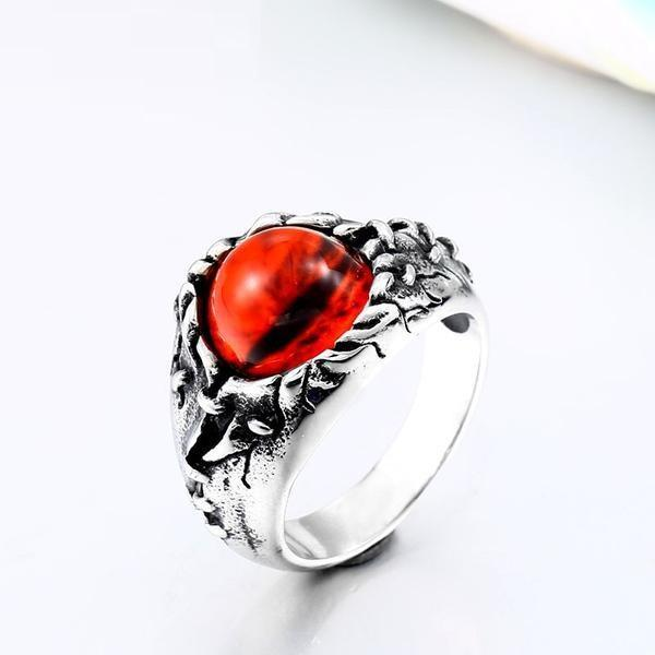 Stainless Steel Red Stone Evil Eye CZ Ring Men Jewelry Rings