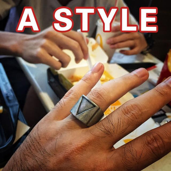 Stainless Steel Vintage Retro Punk Rings Men Triangle Viking Jewelry