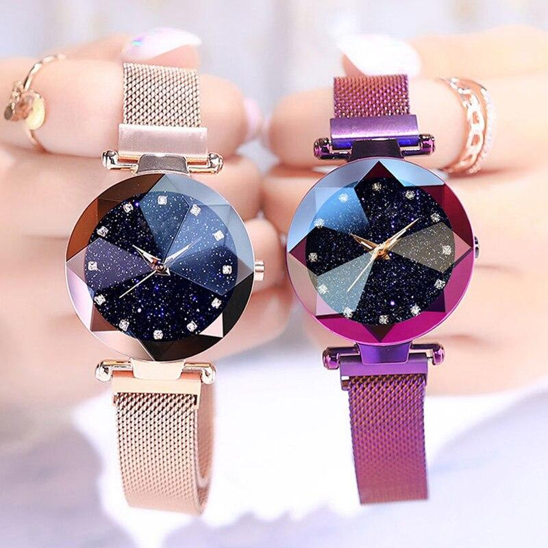 Starry Sky Women Watches Bracelet Magnet Mesh Band Rhinestones Watch LABONNI