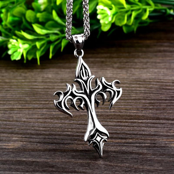 Steel Pendant Necklace Men Power Glory Compass Jewelry
