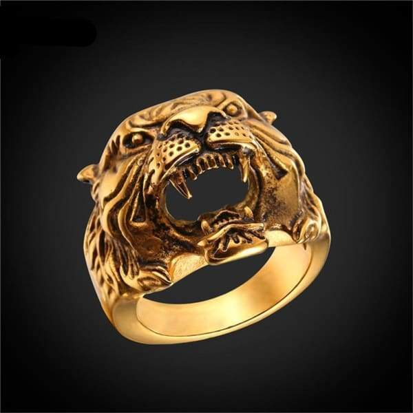 Steel Tiger Ring Mens Unique Design Jewelry