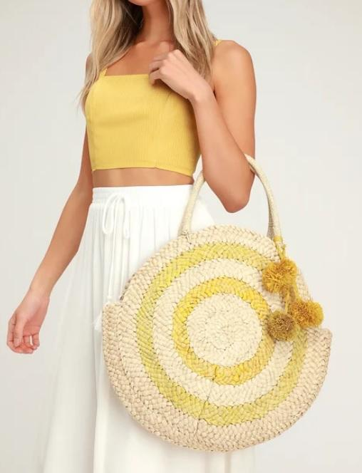 Summer Large Round Straw Beach Bag Yellow Natural Corn Skin Woven Tote Bags