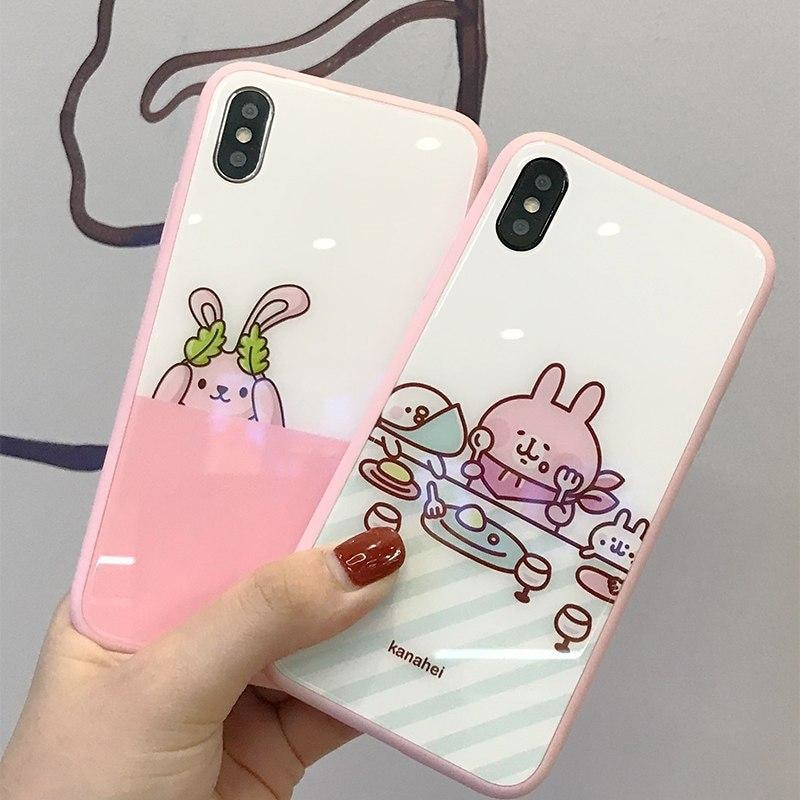Tempered Glass Case iPhone Cute Cartoon Pink Cover for Girls Phone Cases