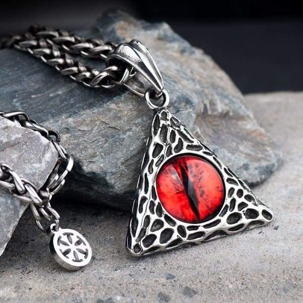 The Eye of Sauron Necklace for Men Stainless Steel Devil Eyes Retro Pendant