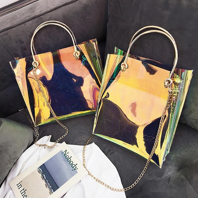 Transparent Bag Women Laser Holographic Shoulder Bags