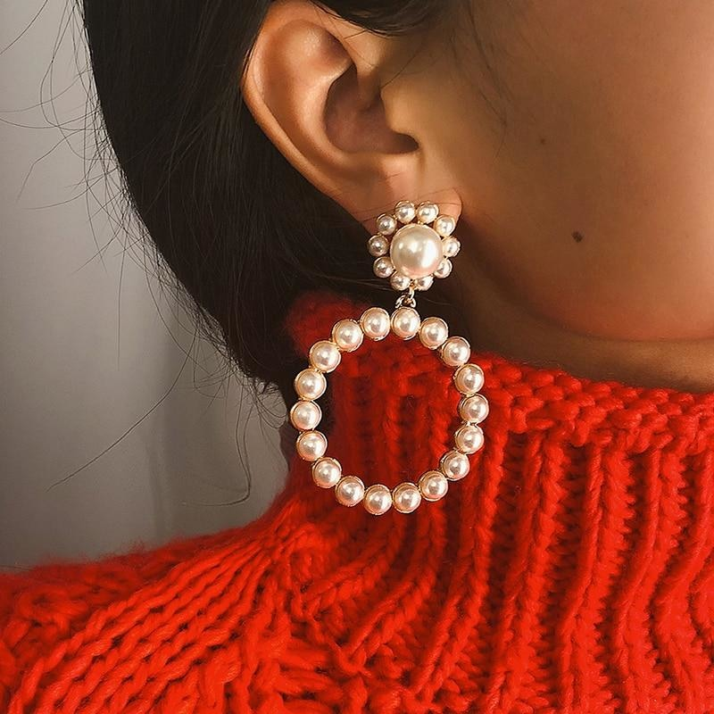 Trendy Pearl Round Drop Earrings Fashion Women Jewelry