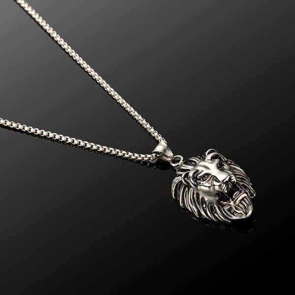 Trendy Punk Lion Head Pendant Stainless Steel Link Chain Choker Necklaces Mens Jewelry Accessories Necklace