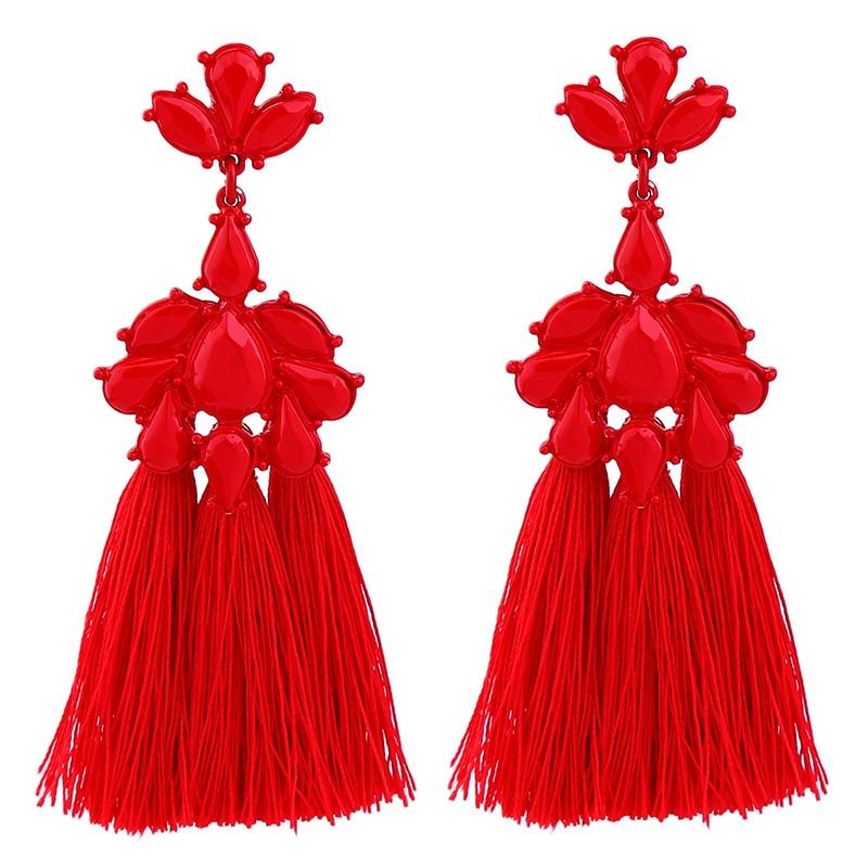 Trendy Red Tassel Drop Earrings Long Fringe