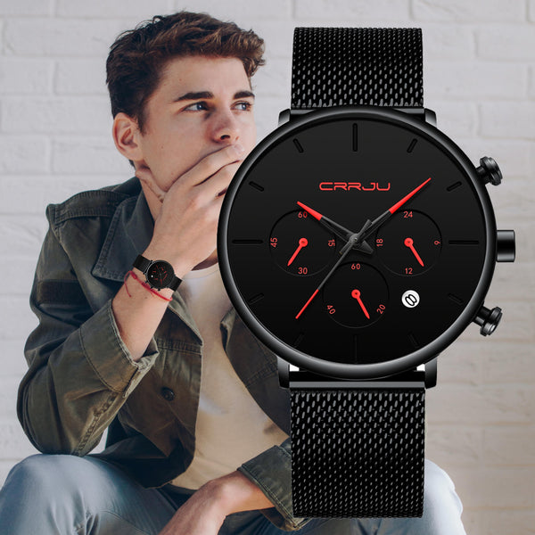 Ultra Thin Watches Luxury Casual Quartz Slim Mesh Watch Gift for Him LABONNI