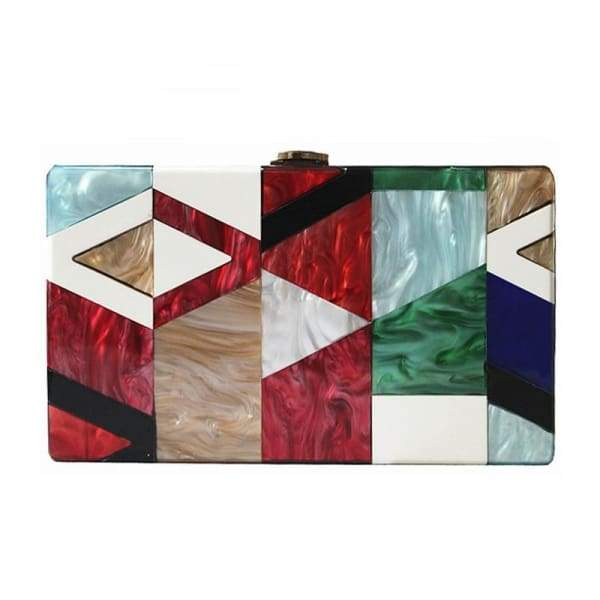 Unique Acrylic Geometric Lattice Patchwork Clutch Bag Bags