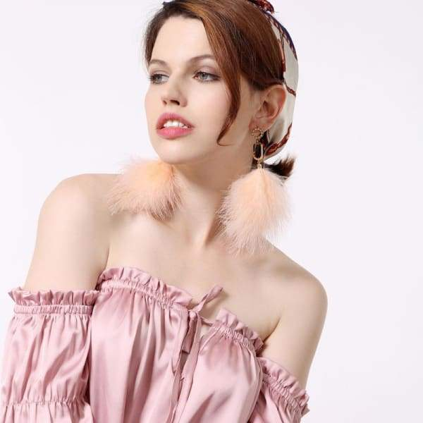 Unique Big Size Pink Feather Drop Earrings