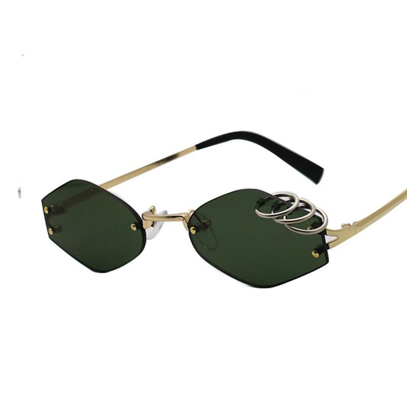 Unique Iron Rings Decoration Unisex Rimless Sunglasses