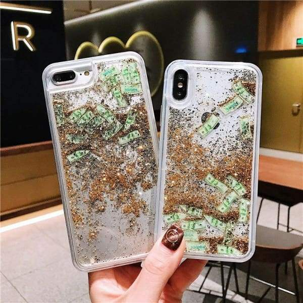 US Dollar Coin Dynamic Liquid Glitter Transparent iPhone Cases Cover Phone