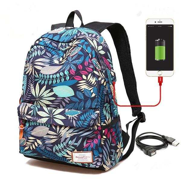 USB Charging Laptop Backpack Girls Flowers Travel