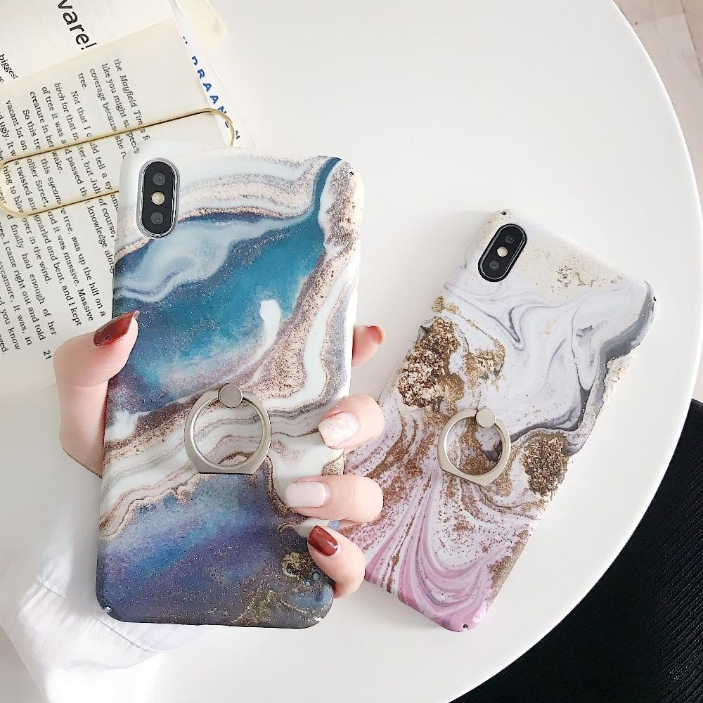 Vintage Blue Pink Marble Glitter Bling iPhone Case Phone Cases
