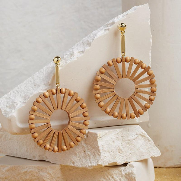 Vintage Ethnic Wooden Big Circle Round Earring Earrings