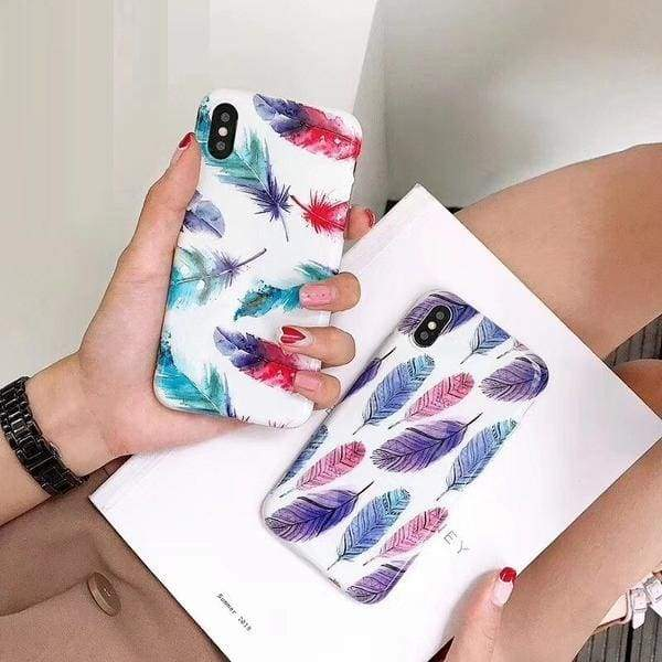 Vintage Feather Patterned Phone Case for iPhone Candy Color Cover Capas Cases