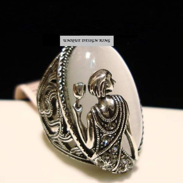 Vintage Tibetan silver opal ring decorated female goddess rings Ring