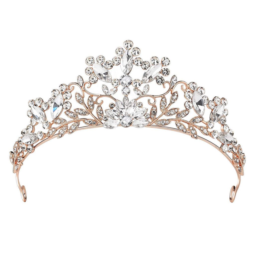 Rhinestone Wedding Tiara Rose Gold Bridal Crown