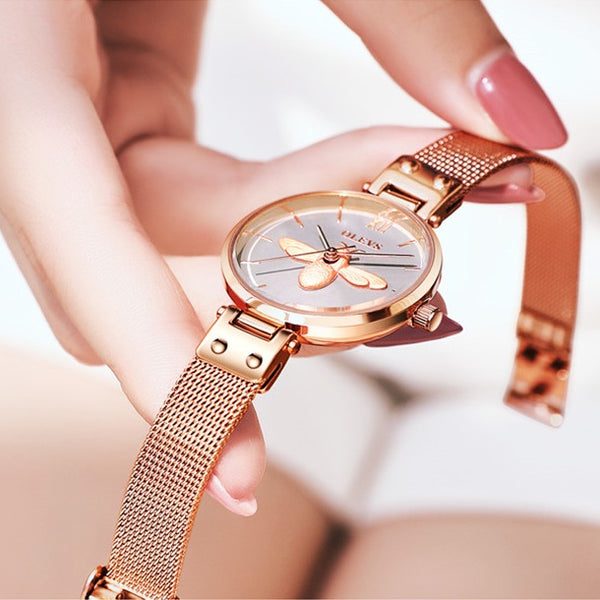 Women's Rose Gold Watch Quartz Analog Stainless Steel Mesh Band Watch