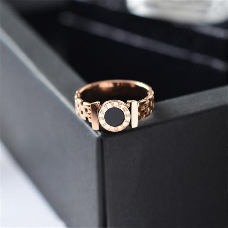 Woman Rings Steel Black Roman Numerals Rose Gold Ring